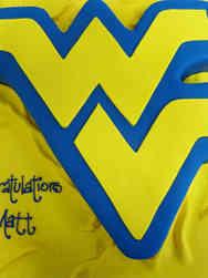 College 11 West Virginia University Cut Out Logo College Graduation Cake