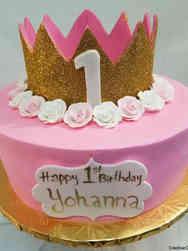 Girls 14 Sparkly Crown First Birthday Cake