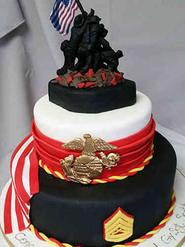 Military 01 Iwo Jima Marine Corps Military Promotion Cake