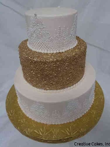 Trendy 19 Lace and Sequins Wedding Cake