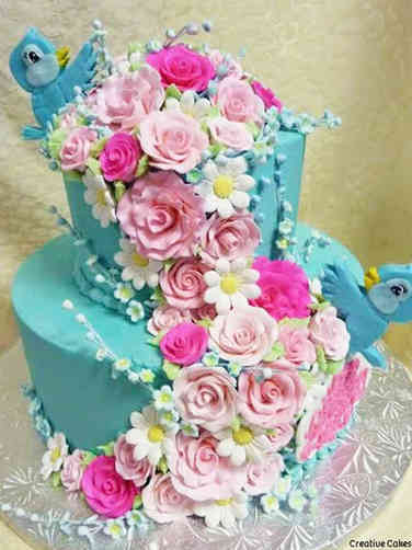 Floral 01 Blue and Pink Fairy Tale Birds Bridal Shower Cake