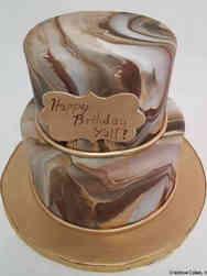 Feminine 52 Brown and Gold Marble Birthday Cake