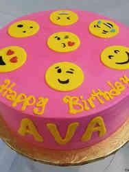 Unique 26 Pink Emoji Birthday Cake