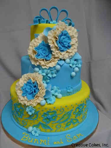 Colorful 09 Lime and Blue Wedding Cake