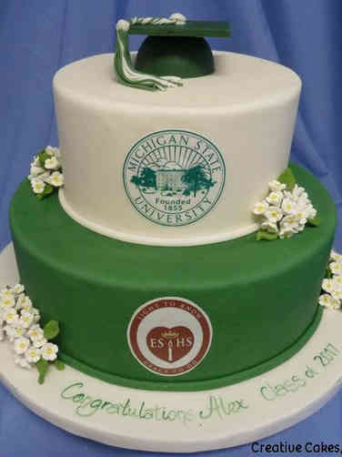 College 25 Green and White Michigan State University College Graduation Cake