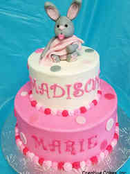 Girls 04 Pink Bunny First Birthday Cake