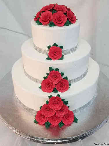 Simple 06 Simply Red Roses Wedding Cake