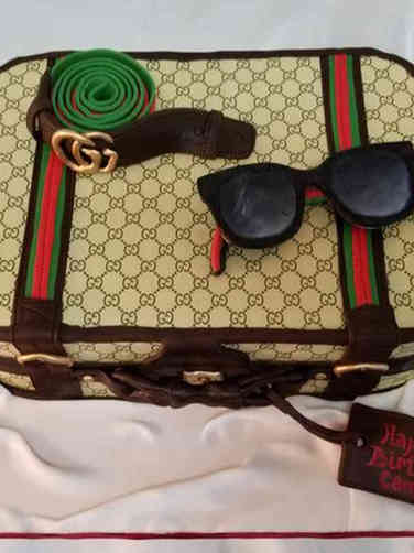 Fashion 16 Man's Gucci Suitcase Birthday Cake