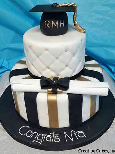 College 16 Black and Gold Stripes College Graduation Cake