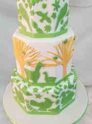 Neutral 49 Modern Llamas and Birds Baby Shower Cake