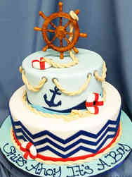 Boys 02 Ships Ahoy Baby Shower Cake