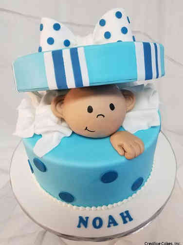 Boys 08 Baby in a Box Baby Shower Cake