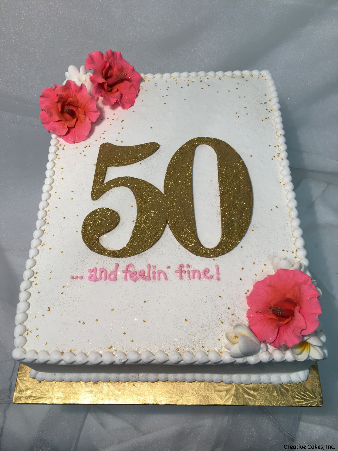 Numbers 28 Pink And Gold Hibiscus 50th Birthday Cake