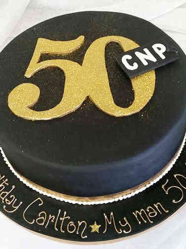 Numbers 04 Black and Gold 50th Birthday Cake