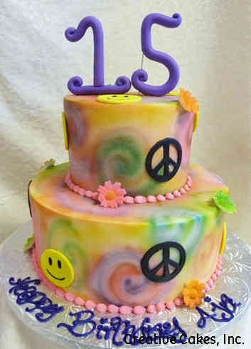 Classic 20 Peace and Love Tie Dye Birthday Cake