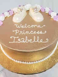 Girls 09 Metallic Gold Baby Shower Cake