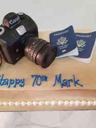 Hobbies 49 Gold Camera Birthday Cake
