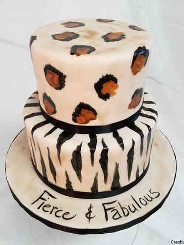 Feminine 06 Fierce Animal Print Birthday Cake