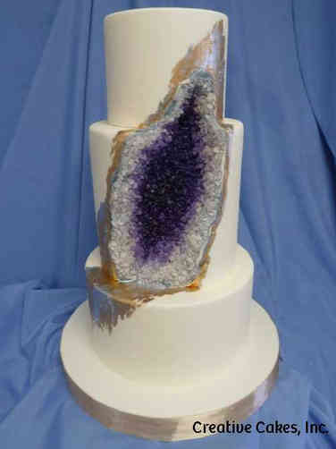 Trendy 15 Amethyst Geode Wedding Cake