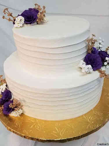 Simple 03 Purple and Gold Roses Wedding Cake