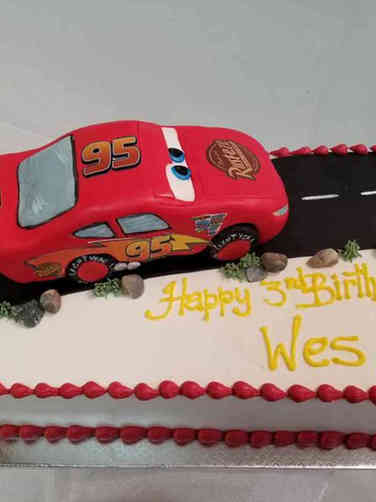 Movies 08 Red Lightning McQueen Cars Birthday Cake