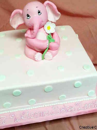 Girls 03 Sweet Elephant Baby Shower Cake