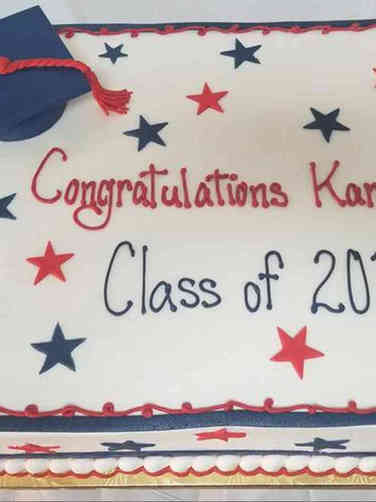 High School 05 Red and Blue Stars High School Graduation Cake