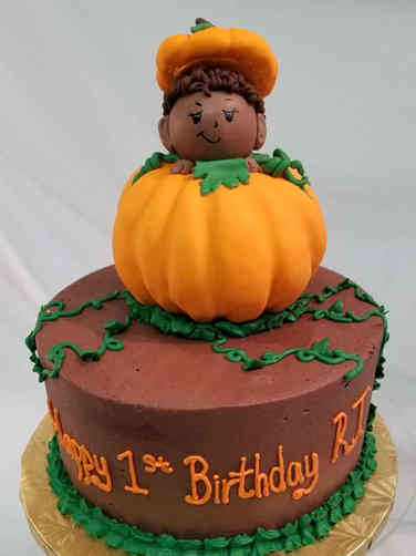 Boys 13 Pumpkin Baby First Birthday Cake