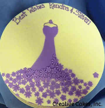 Dress 10 Yellow and Purple Floral Dress Wedding Shower Cake