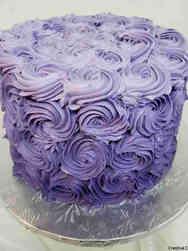 Feminine 22 Purple Rosettes Birthday Cake