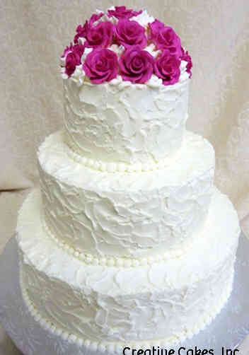 Simple 22 Textured Pink Roses Wedding Cake