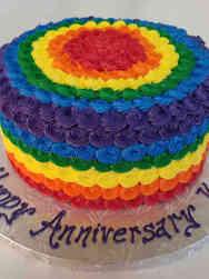 Professional 09 Rainbow Rosettes Celebration Cake