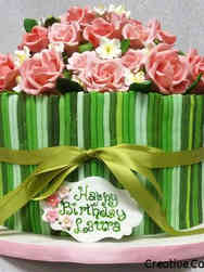 Floral 28 Green and Pink Garden Birthday Cake