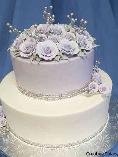 Floral 08 Lavender and Silver Roses Wedding Cake