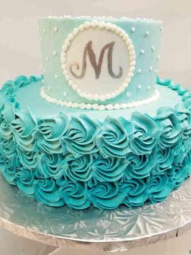 Unique 07 Blue Ombre Wedding Shower Cake