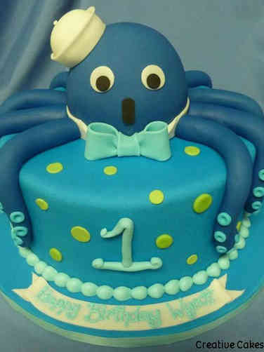 Boys 11 Octopus Sailor First Birthday Cake