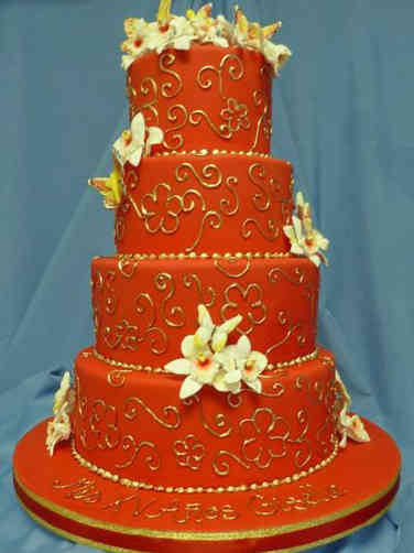 Classic 23 Elegant Red and Gold Quincenera Birthday Cake
