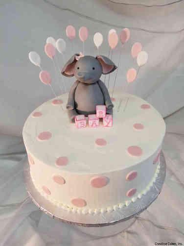 Girls 31 Elephant and Baloons Baby Shower Cake