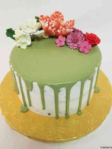 Floral 58 Matcha Tea Drip Birthday Cake