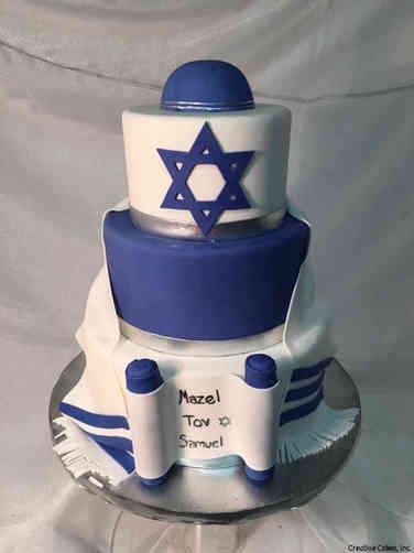 Mitzvah 17 Elegant Blue and White Bar Mitzvah Cake