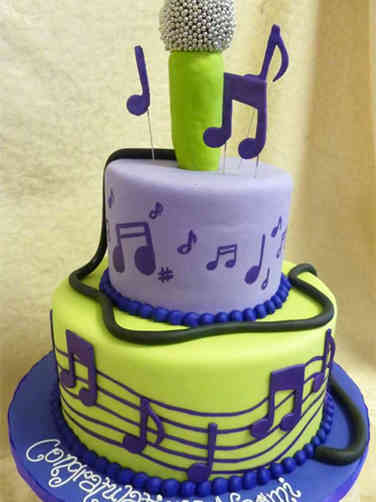 Professional 22 Microphone and Music Celebration Cake