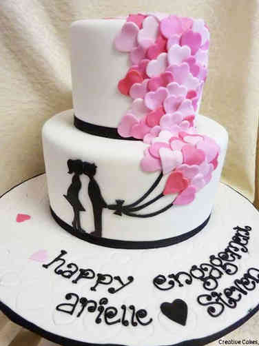 Unique 01 Silhouettes and Balloons Engagement Celebration Cake