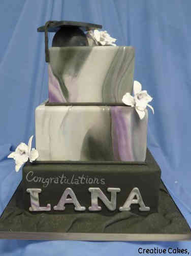 College 21 Black and Purple Marbled Graduation Cake