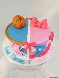 Reveal 12 Free Throws or Pink Bows Gender Reveal Cake