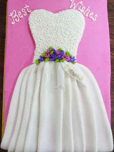 Dress 02 Pink and White Dress Bridal Shower Sheet Cake