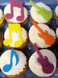 Kids 04 Music Notes and Guitars Birthday Cupcakes