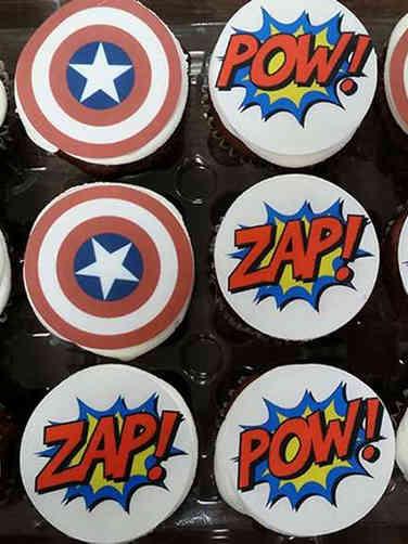 Kids 06 Captain America Comic Book Birthday Cupcakes
