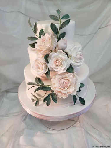 Trendy 25 Blush Peonies and Roses Wedding Cake