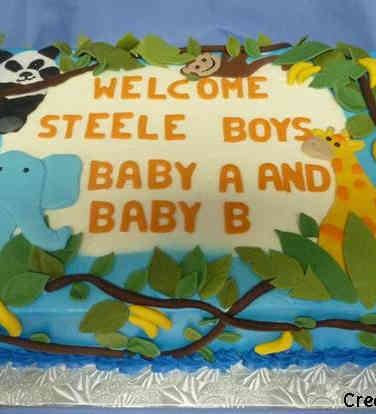 Boys 24 In the Jungle Baby Shower Cake