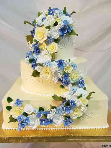 Colorful 22 Yellow, Blue, and White Wedding Cake